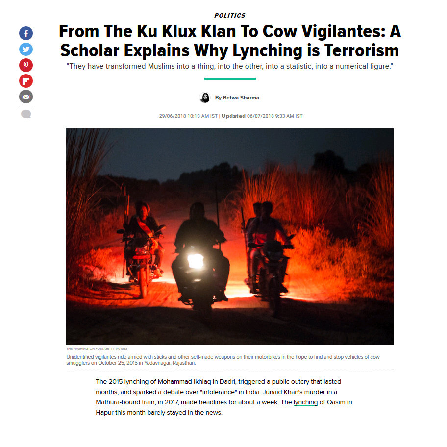 From The Ku Klux Klan To Cow Vigilantes: A Scholar Explains Why Lynching is Terrorism