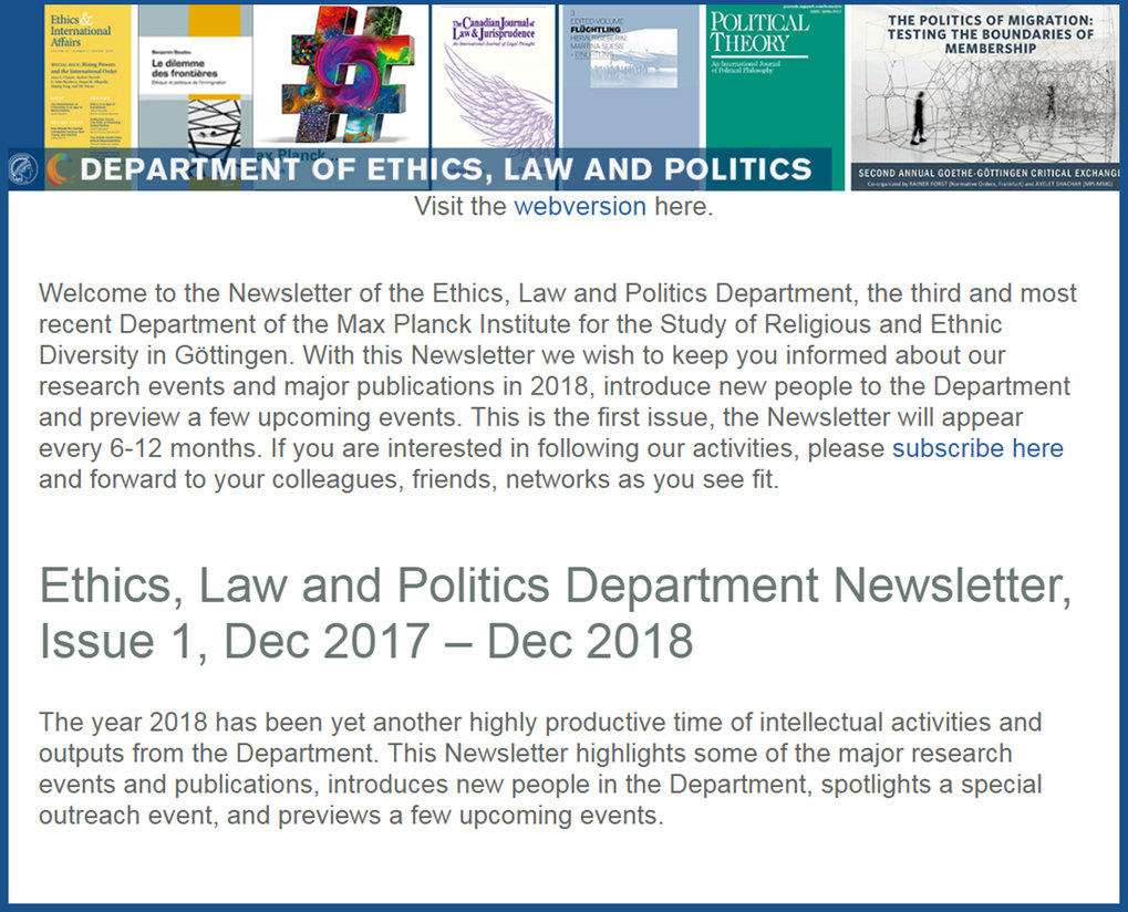 Ethics, Law and Politics Department Newsletter,<br />Issue 1, Dec 2017 – Dec 2018